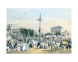 Local Fetes around Paris: the Greasy Pole at Meudon Belle Vue, Paris, 1830 Giclee Print by Victor Adam