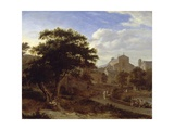 Two Churches and a Town Wall, C.1660 Giclee Print by Jan Van Der Heyden