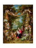 The Virgin and Child with the Infant Saint John the Baptist, Saint Anne and Angels, Surrounded by… Giclee Print by  Jan Brueghel and Hendrik van Balen