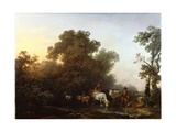 Landscape with Cattle and Figures, C.1765 Giclee Print by Philip James De Loutherbourg