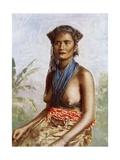 Fiji Woman in Traditional Dress, C.1900 Giclee Print by Josiah Martin