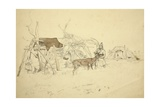 Lapps and Reindeer Beside Huts, North Norway, C.1850 Wydruk giclee autor Godfrey Thomas Vigne