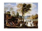 Italianate River Landscape with Poling Boatman and Woman with a Basket of Crabs, C.1604-05 Giclée-tryk af Domenichino
