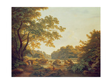 Figures by a Weir on the River Clodiagh at Charleville Forest, County Offaly, 1801 Giclee Print by William Ashford