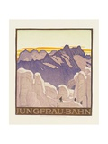 Jungfrau-Bahn, Poster Advertising the Jungfrau Mountain Railway Gicléetryck av Emil Cardinaux
