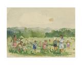 Pioneers Picking Flowers, 1930s Giclee Print by Natalia Aleksandrovna Gippius