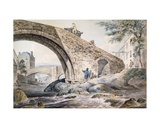 View of the Bridges at Haywick Giclee Print by Charles, I Catton