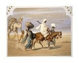 Bedouin Family Travels across the Desert, 1860 Giclee Print by Henri De Montaut