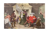 Falstaff Enacts the Part of the King in Henry IV, Part I, Act II, Scene IV, from 'The Illustrated… Giclee Print by George Cruikshank