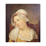 Young Girl in a White Bonnet Giclee Print by Jean-Baptiste Greuze