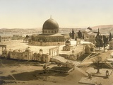 View of the Temple Mount with the Dome of the Rock and the El Aqsa Mosque, Jerusalem, C.1880-1900 Photographic Print