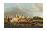 View of Westminster from Lambeth with a Royal Barge in the Foreground Giclee Print by Samuel Scott