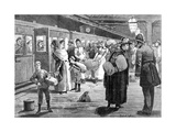 Hop-Pickers Starting from London Bridge Railway Station at Midnight, 1891 Giclee Print by Enoch Ward