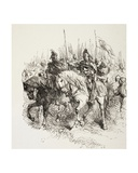 Medieval Army on the March Led by Knights on Horseback, from 'The Illustrated Library… Giclee Print