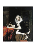 An Elegant Lady Writing at Her Desk, with a Dog Beside Her Giclee Print by Gabriel Metsu