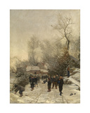 Village with Children in the Snow Giclee Print by Georges Reinheimer