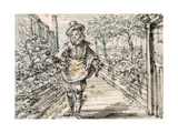 A Fashionably Dressed Youth Strolls in a Town Rose Garden Giclee Print by Crispin I De Passe