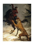 Siberian Tiger Attacking a Cossack Giclee Print