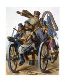 Group of Drunken Peasant Men Singing as They Go Home on a Cart, 1843 Giclee Print by Rudolf Jukowsky
