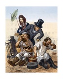Rich Couple Speak to a Pair of Drunken Carpenters Cooking and Eating in the Street, 1843 Giclee Print by Rudolf Jukowsky