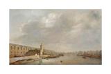 The Louvre Grande Galerie, View of Paris from the Barbier Bridge (Upstream), C.1640 Giclée-Druck von Abraham de Verwer