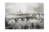 London, Southwark and Blackfriars Bridges over the River Thames, London, England, from… Giclee Print by William Henry Bartlett