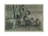 The Shepherd Asleep, 1888 Gicléedruk van Giovanni Segantini