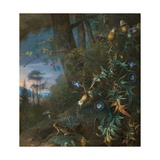Forest Floor Still Life with a Frog and a Mushroom, Mountains Beyond Giclee Print by Matthias Withoos