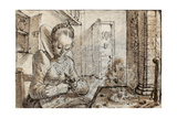 A Fashionable Young Woman Sits at a Kitchen Table to Shell Walnuts Lámina giclée por Crispin I De Passe