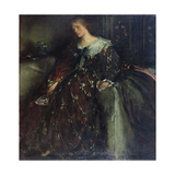 The Lady with the Green Fan, Portrait of Mrs Hacon Giclee Print by Charles Haslewood Shannon