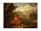 Saint John the Baptist in the Wilderness Indicating Christ, the River Jordan Beyond, 1759 Giclee Print by Antoine de Favray