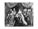 Edward VI Granting the Charter for Bridewell Hospital to Sir George Barnes in 1553, Published 1750 Giclée-Druck von George Vertue