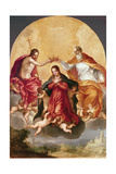 Coronation of the Virgin Giclee Print by Hans I or Johann Rottenhammer