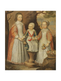 Portrait of the Three Children of George Preston of Holker, 1650 Giclee Print by Gerrit van Honthorst