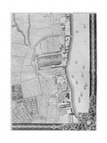 A Map of the Lower Rotherhithe Docks, London, 1746 Giclee Print by John Rocque
