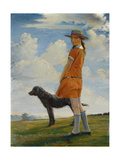 The Artist's Daughter Walking the Vicar's Dog, C.1924 Giclee Print by Walter Bonner Gash