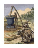 An Oil Mill Worked by a Pair of Oxen, Engraved by Poisson, from 'Voyages Aux Indes Et a La Chine' Giclee Print by Pierre Sonnerat