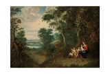 A Wooded Landscape with the Virgin and Child, Infant St. John the Baptist and an Angel Giclee Print by Jan the Younger Brueghel