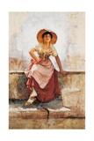 Florentine Flower Girl, C.1886 Giclee Print by Frank Duveneck