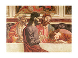 The Last Supper, Detail of Saints John and Peter, Christ and Judas, 1447 (Detail) Giclee Print by Andrea Del Castagno