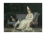 Portrait of Elizabeth, Lady Webster, Later Lady Holland, in a White Dress with Her Spaniel… Giclee Print by Louis Gauffier