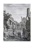 Interior of the Roman Baths, Nimes, from 'Antiquités De La France: Vol I, Monuments De Nimes' Giclee Print