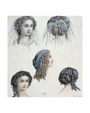 Hairstyle of a Bride and Others, C.1853 Giclee Print by Anais Toudouze