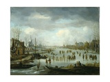 Skating on a Frozen River, C.1660 Giclee Print by Aert Van Der Neer