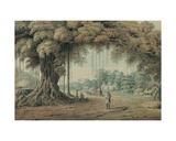 Palanquin Bearers and Holy Men Resting Beneath a Banyan Tree at the Entrance to a Village, Bengal Giclee Print by Hubert Cornish