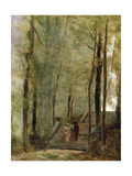 On the Terrace Steps, 1870 Giclee Print by Jean Baptiste Camille Corot