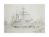 The Pearl Ashore in the Congone Canal, 11th June 1858 (Pencil on Paper Giclee Print by Thomas Baines