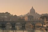 St Peter's Basilica and Ponte Sant Angelo, Rome, Italy Reprodukcja zdjęcia
