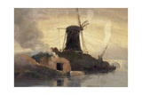 Windmill and Brick Kiln on Riverside Giclee Print by Samuel Owen