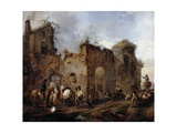 Courtyard with a Farrier Shoeing a Horse, C.1656 Giclee Print by Philips Wouwermans Or Wouwerman
